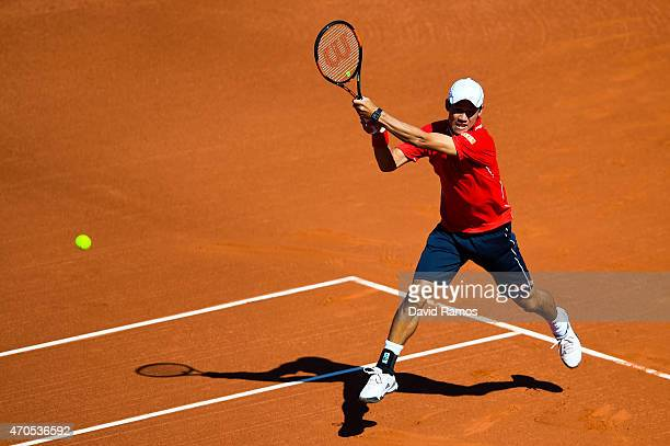 Kei Nishikori of Japan in action against Teymuraz Gabashvili of Russia during day two of the Barcelona Open Bac Sabadell at the Real Club de Tenis...
