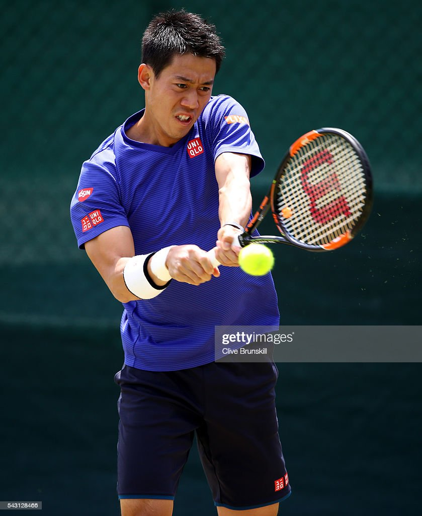 <a gi-track='captionPersonalityLinkClicked' href=/galleries/search?phrase=Kei+Nishikori&family=editorial&specificpeople=4432498 ng-click='$event.stopPropagation()'>Kei Nishikori</a> of Japan in action during a practice session prior to the Wimbledon Lawn Tennis Championships at the All England Lawn Tennis and Croquet Club on June 26, 2016 in London, England.
