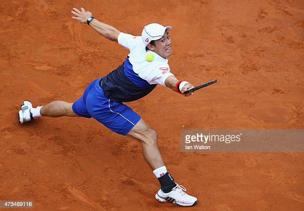 Kei Nishikori of Japan in action during his Third Round match against Novak Djokovic of Serbia on Day Six of the The Internazionali BNL d'Italia 2015...