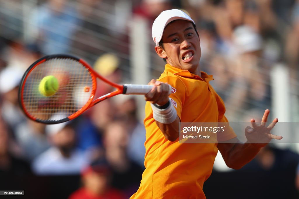 Kei Nishikori of Japan in action during the men's third round match against Juan Martin Del Potro of Argentina on Day Five of the Internazionali BNL d'Italia 2017 at the Foro Italico on May 18, 2017 in Rome, Italy.