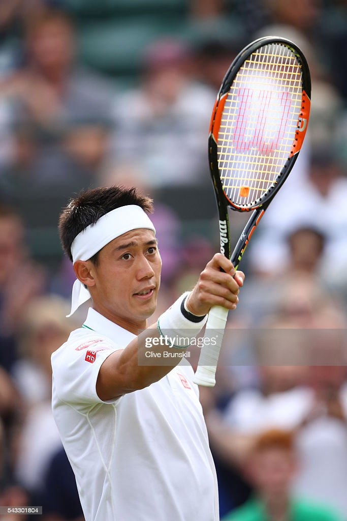 <a gi-track='captionPersonalityLinkClicked' href=/galleries/search?phrase=Kei+Nishikori&family=editorial&specificpeople=4432498 ng-click='$event.stopPropagation()'>Kei Nishikori</a> of Japan looks celebrates victory during the Men's Singles first round against Sam Groth of Australia on day one of the Wimbledon Lawn Tennis Championships at the All England Lawn Tennis and Croquet Club on June 27th, 2016 in London, England.