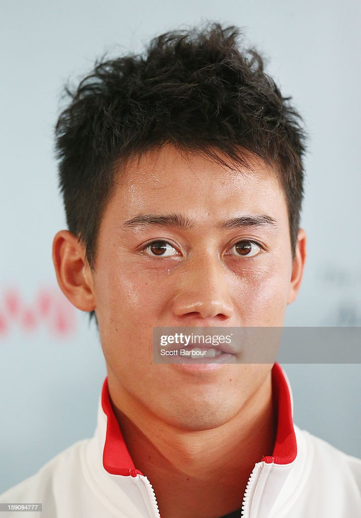 Kei Nishikori of Japan looks on during the AAMI Classic press conference at Kooyong on January 8, 2013 in Melbourne, Australia.