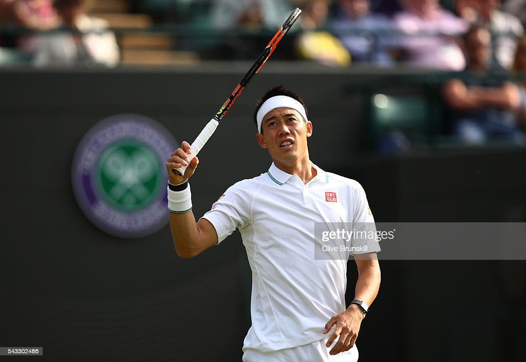 <a gi-track='captionPersonalityLinkClicked' href=/galleries/search?phrase=Kei+Nishikori&family=editorial&specificpeople=4432498 ng-click='$event.stopPropagation()'>Kei Nishikori</a> of Japan looks on during the Men's Singles first round match against Sam Groth of Australia on day one of the Wimbledon Lawn Tennis Championships at the All England Lawn Tennis and Croquet Club on June 27th, 2016 in London, England.