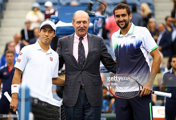 Kei Nishikori of Japan Marin Cilic of Croatia and Stan Smith pose prior to their men's singles final match on Day fifteen of the 2014 US Open at the...