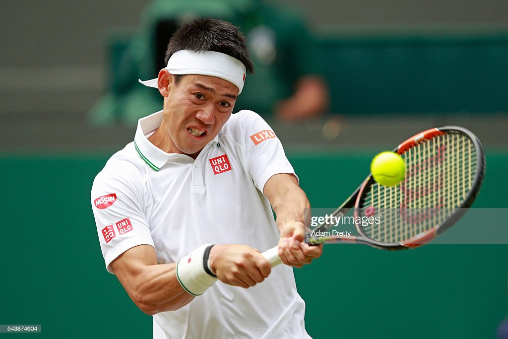 <a gi-track='captionPersonalityLinkClicked' href=/galleries/search?phrase=Kei+Nishikori&family=editorial&specificpeople=4432498 ng-click='$event.stopPropagation()'>Kei Nishikori</a> of Japan plays a backhand during the Men's Singles second round match against Julien Benneteau of France on day four of the Wimbledon Lawn Tennis Championships at the All England Lawn Tennis and Croquet Club on June 30, 2016 in London, England.