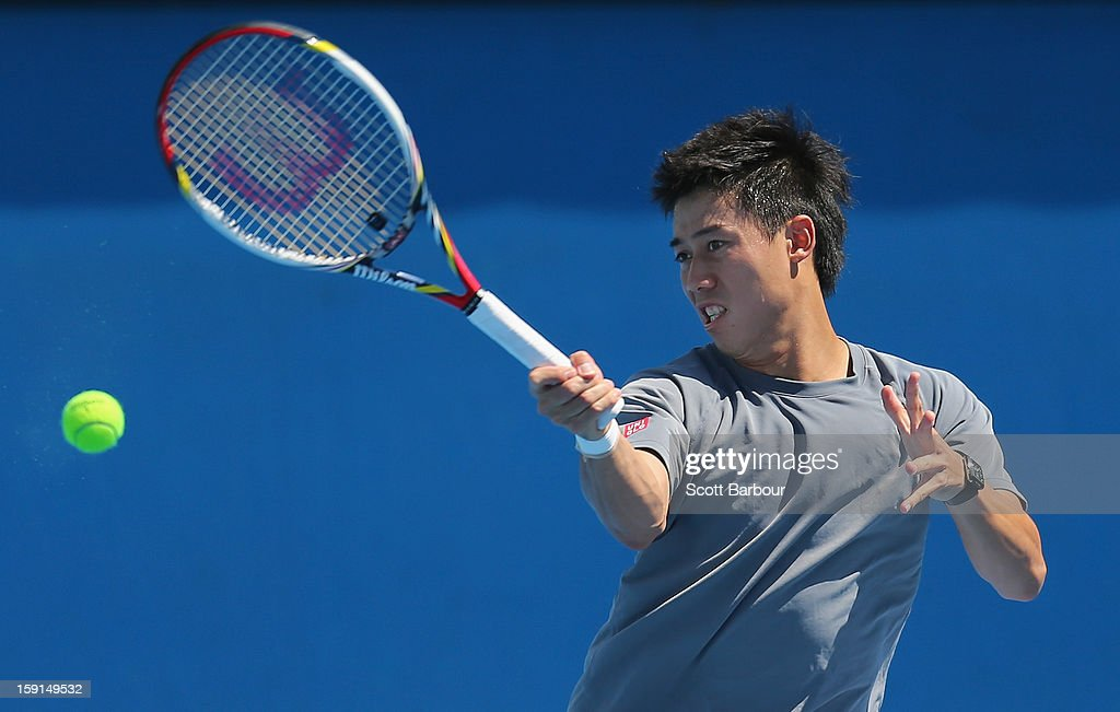 <a gi-track='captionPersonalityLinkClicked' href=/galleries/search?phrase=Kei+Nishikori&family=editorial&specificpeople=4432498 ng-click='$event.stopPropagation()'>Kei Nishikori</a> of Japan plays a forehand during a practice session ahead of the 2013 Australian Open at Melbourne Park on January 9, 2013 in Melbourne, Australia.