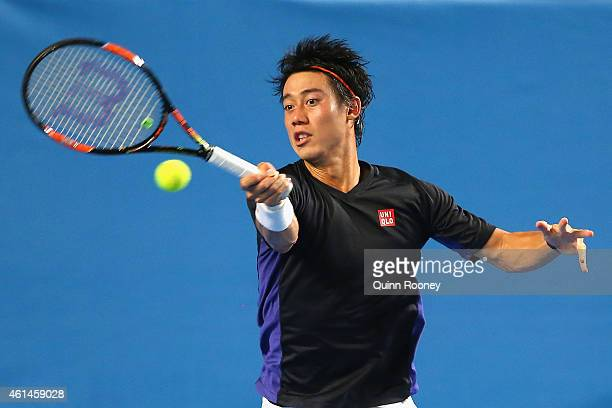 Kei Nishikori of Japan plays a forehand during a practice session ahead of the 2015 Australian Open at Melbourne Park on January 13 2015 in Melbourne...