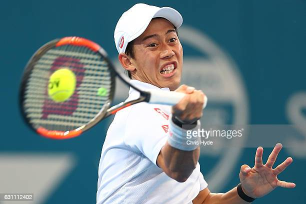 Kei Nishikori of Japan plays a forehand during his semi final match against Stan Wawrinka of Switzerland during day seven of the 2017 Brisbane...