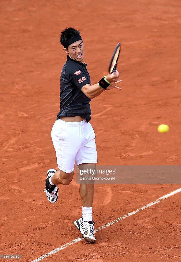 <a gi-track='captionPersonalityLinkClicked' href=/galleries/search?phrase=Kei+Nishikori&family=editorial&specificpeople=4432498 ng-click='$event.stopPropagation()'>Kei Nishikori</a> of Japan plays a forehand during the Men's Singles second round match against Andrey Kuznetsov of Russia at Roland Garros on May 25, 2016 in Paris, France.