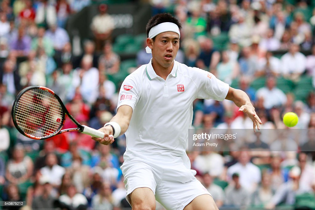 <a gi-track='captionPersonalityLinkClicked' href=/galleries/search?phrase=Kei+Nishikori&family=editorial&specificpeople=4432498 ng-click='$event.stopPropagation()'>Kei Nishikori</a> of Japan plays a forehand during the Men's Singles second round match against Julien Benneteau of France on day four of the Wimbledon Lawn Tennis Championships at the All England Lawn Tennis and Croquet Club on June 30, 2016 in London, England.