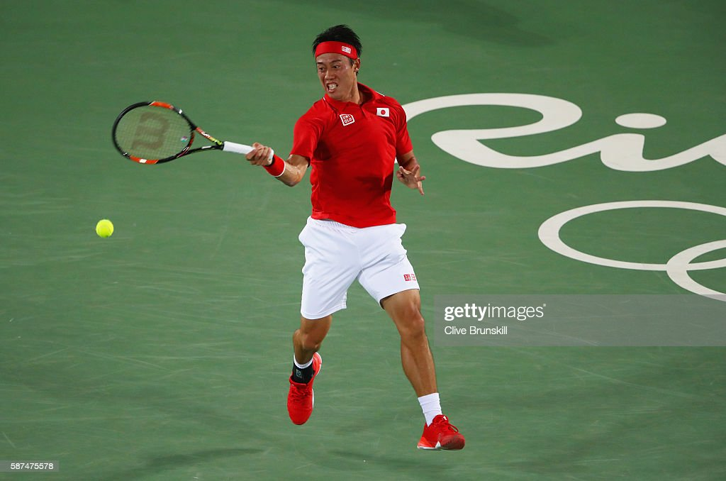 Kei Nishikori of Japan plays a forehand during the Men's Singles second round match against John Millman of Australia on Day 3 of the Rio 2016 Olympic Games at the Olympic Tennis Centre on August 8, 2016 in Rio de Janeiro, Brazil.