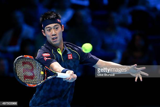 Kei Nishikori of Japan plays a forehand in his men's singles match against Tomas Berdych of Czech Republic during day three of the Barclays ATP World...