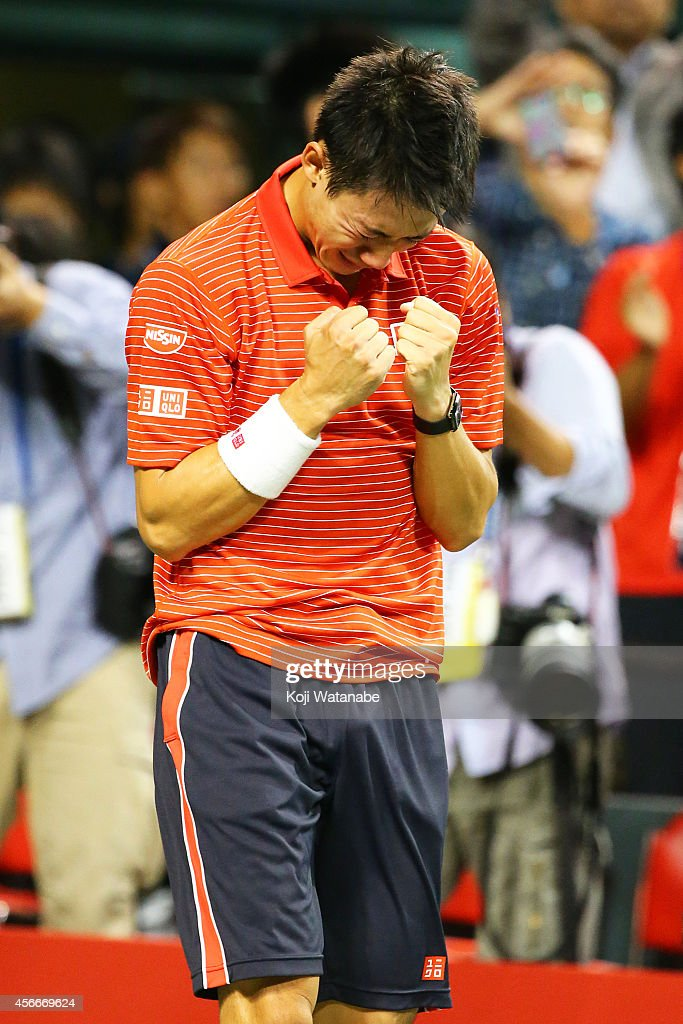<a gi-track='captionPersonalityLinkClicked' href=/galleries/search?phrase=Kei+Nishikori&family=editorial&specificpeople=4432498 ng-click='$event.stopPropagation()'>Kei Nishikori</a> of Japan reacts after winning the men's singles final match against Milos Raonic of Canada on day seven of Rakuten Open 2014 at Ariake Colosseum on October 5, 2014 in Tokyo, Japan.