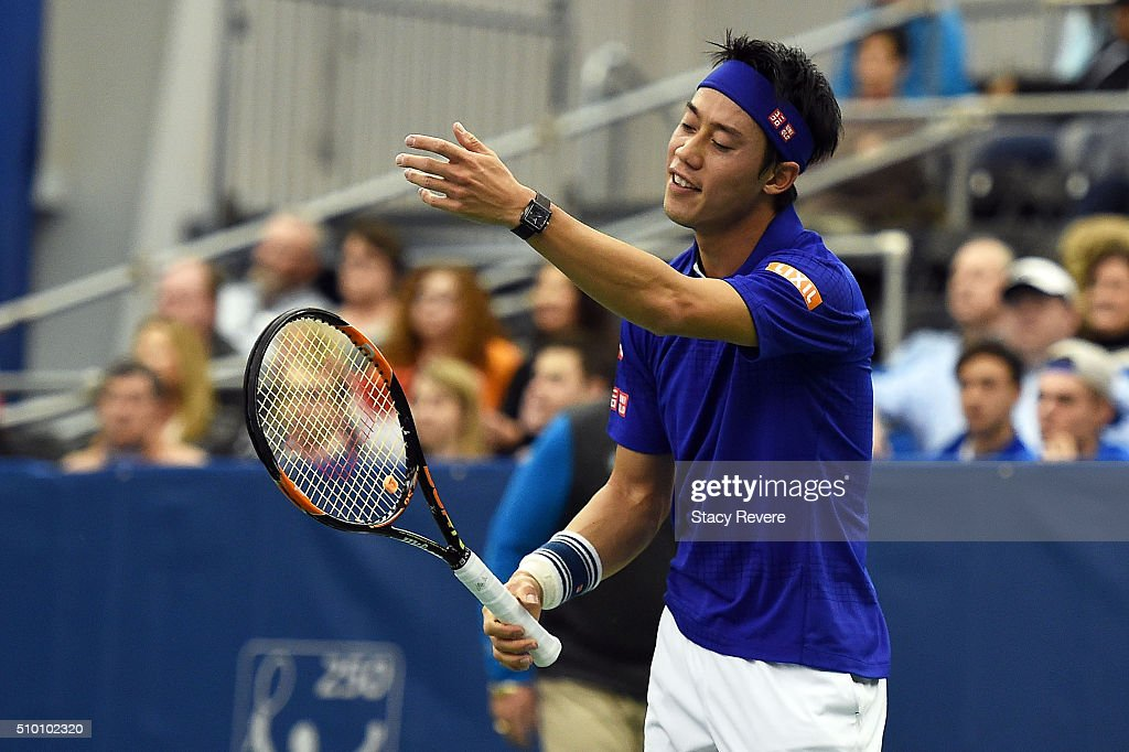 Kei Nishikori of Japan reacts to a shot during his semifinal singles match against Sam Querrey of the United States on Day 6 of the Memphis Openat...