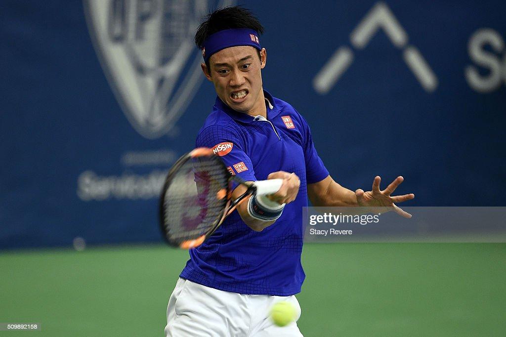 Kei Nishikori of Japan returns a shot to Mikhail Kukushkin of Kazakhstan during their quarterfinal singles match on Day 5 of the Memphis Open at the...