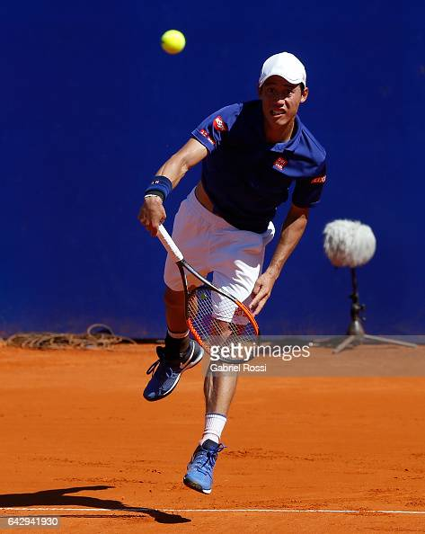 Kei Nishikori of Japan serves during a final match between Kei Nishikori of Japan and Alexandr Dolgopolov of Ukraine as part of ATP Argentina Open at...