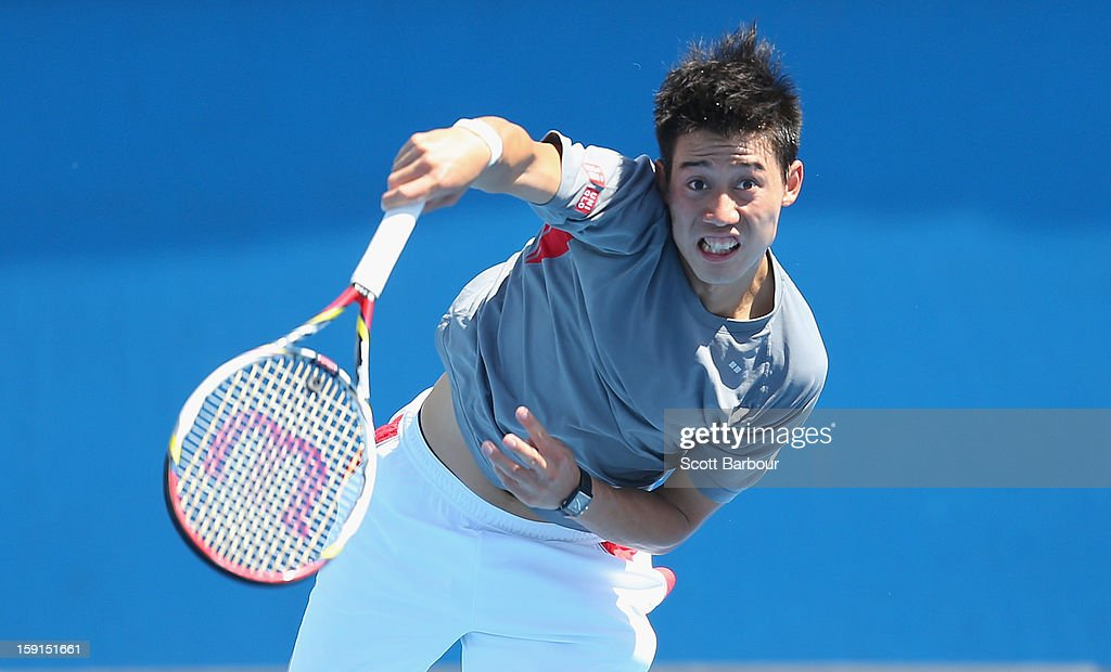 <a gi-track='captionPersonalityLinkClicked' href=/galleries/search?phrase=Kei+Nishikori&family=editorial&specificpeople=4432498 ng-click='$event.stopPropagation()'>Kei Nishikori</a> of Japan serves during a practice session ahead of the 2013 Australian Open at Melbourne Park on January 9, 2013 in Melbourne, Australia.