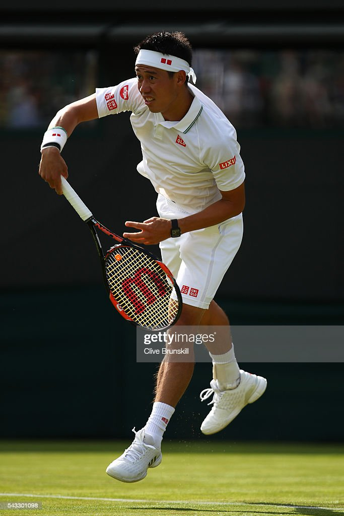 <a gi-track='captionPersonalityLinkClicked' href=/galleries/search?phrase=Kei+Nishikori&family=editorial&specificpeople=4432498 ng-click='$event.stopPropagation()'>Kei Nishikori</a> of Japan serves during the Men's Singles first round match against Sam Groth of Australia on day one of the Wimbledon Lawn Tennis Championships at the All England Lawn Tennis and Croquet Club on June 27th, 2016 in London, England.