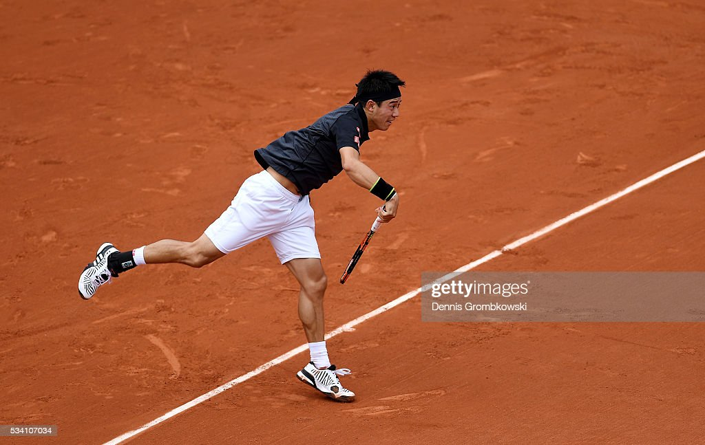 <a gi-track='captionPersonalityLinkClicked' href=/galleries/search?phrase=Kei+Nishikori&family=editorial&specificpeople=4432498 ng-click='$event.stopPropagation()'>Kei Nishikori</a> of Japan serves during the Men's Singles second round match against Andrey Kuznetsov of Russia at Roland Garros on May 25, 2016 in Paris, France.