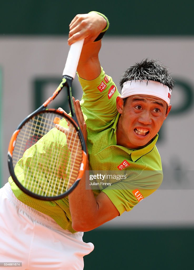 <a gi-track='captionPersonalityLinkClicked' href=/galleries/search?phrase=Kei+Nishikori&family=editorial&specificpeople=4432498 ng-click='$event.stopPropagation()'>Kei Nishikori</a> of Japan serves during the Men's Singles third round match against Fernando Verdasco of Spain on day six of the 2016 French Open at Roland Garros on May 27, 2016 in Paris, France.