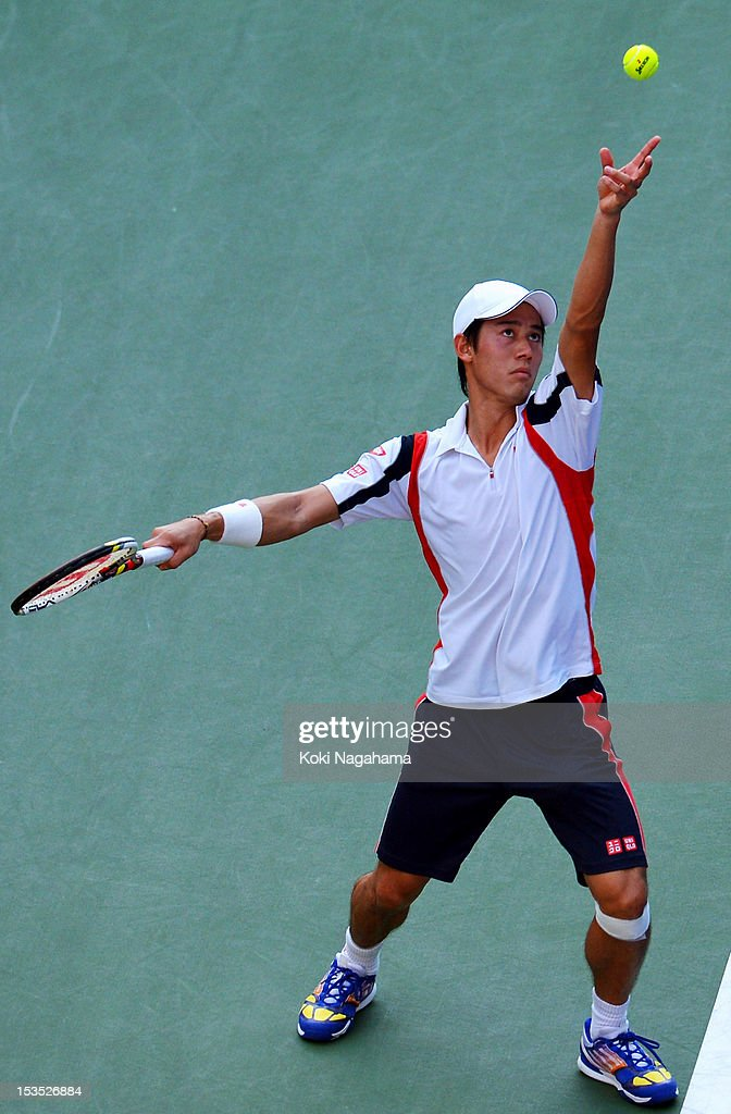 Kei Nishikori of Japan serves in his men's singles semi final match against Marcos Baghdatis of Cyprus during day six of the Rakuten Open at Ariake Colosseum on October 6, 2012 in Tokyo, Japan.