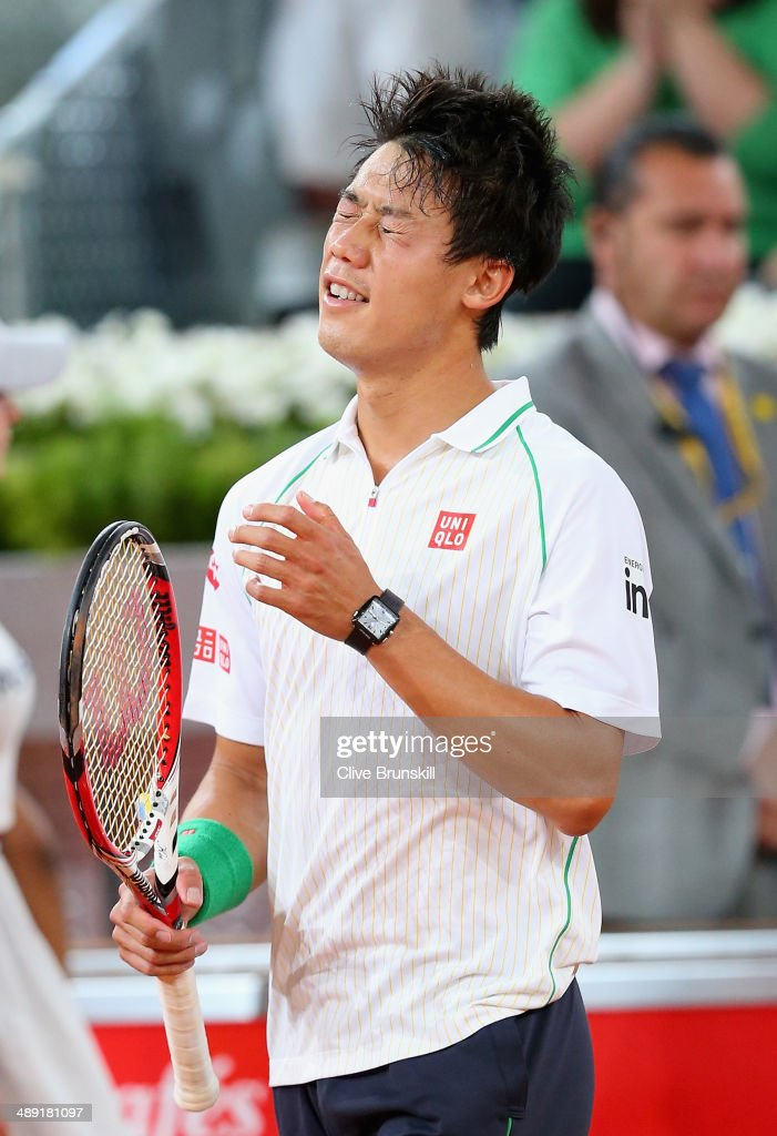 <a gi-track='captionPersonalityLinkClicked' href=/galleries/search?phrase=Kei+Nishikori&family=editorial&specificpeople=4432498 ng-click='$event.stopPropagation()'>Kei Nishikori</a> of Japan shows his emotions after his three victory against David Ferrer of Spain in their semi final match during day eight of the Mutua Madrid Open tennis tournament at the Caja Magica on May 10, 2014 in Madrid, Spain.