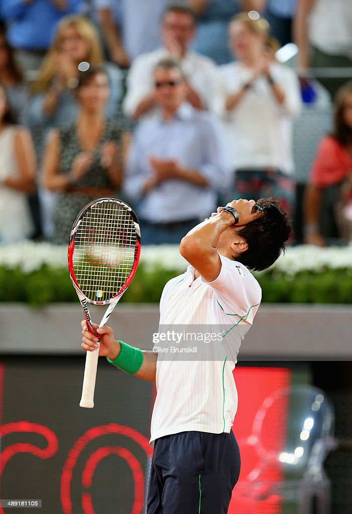 Kei Nishikori of Japan shows his emotions after his three victory against David Ferrer of Spain in their semi final match during day eight of the Mutua Madrid Open tennis tournament at the Caja Magica on May 10, 2014 in Madrid, Spain.