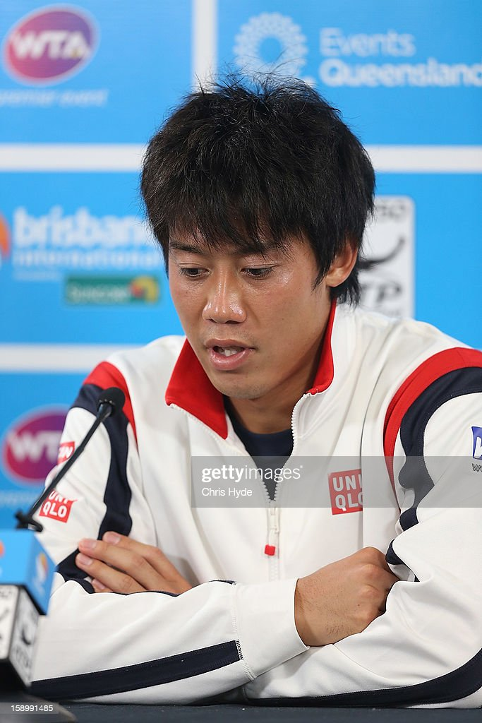 Kei Nishikori of Japan speaks during a press conference after retiring injured in his semi final match against Andy Murray of Great Britain on day seven of the Brisbane International at Pat Rafter Arena on January 5, 2013 in Brisbane, Australia.