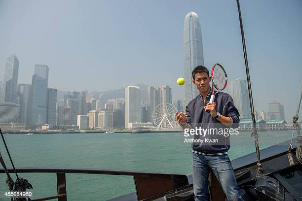 Kei Nishikori on a junk boat during an ATP World Tour media day on September 19 2014 in Hong Kong