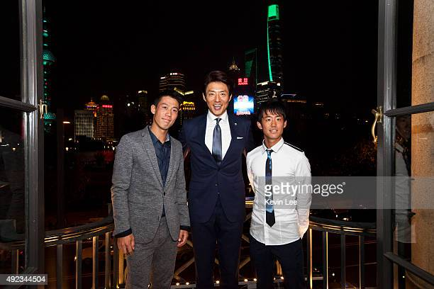 Kei Nishikori Shuzo Matsuoka and Yoshihito Nishioka pose for a picture at an ATP event on October 12 2015 in Shanghai China