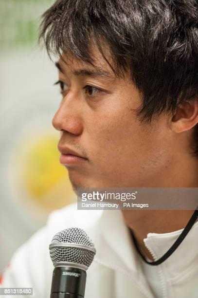Kei Nishikori speaks during a press conference following the BNP Paribas Tennis Classic at the Hurlingham Club London PRESS ASSOCIATION Photo Picture...