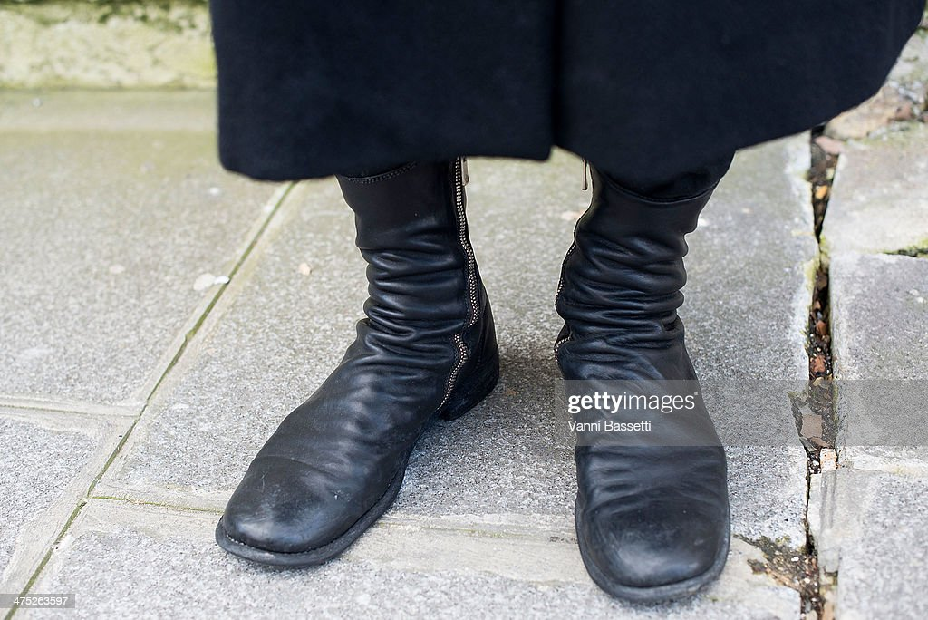 Kei Okubo wearing Guidi shoes before Yang Li show on Day 2 of Paris Collections Womenswear Fall/Winter 2014-2015 at Palais des Beaux Arts on February 26, 2014 in Paris, France.