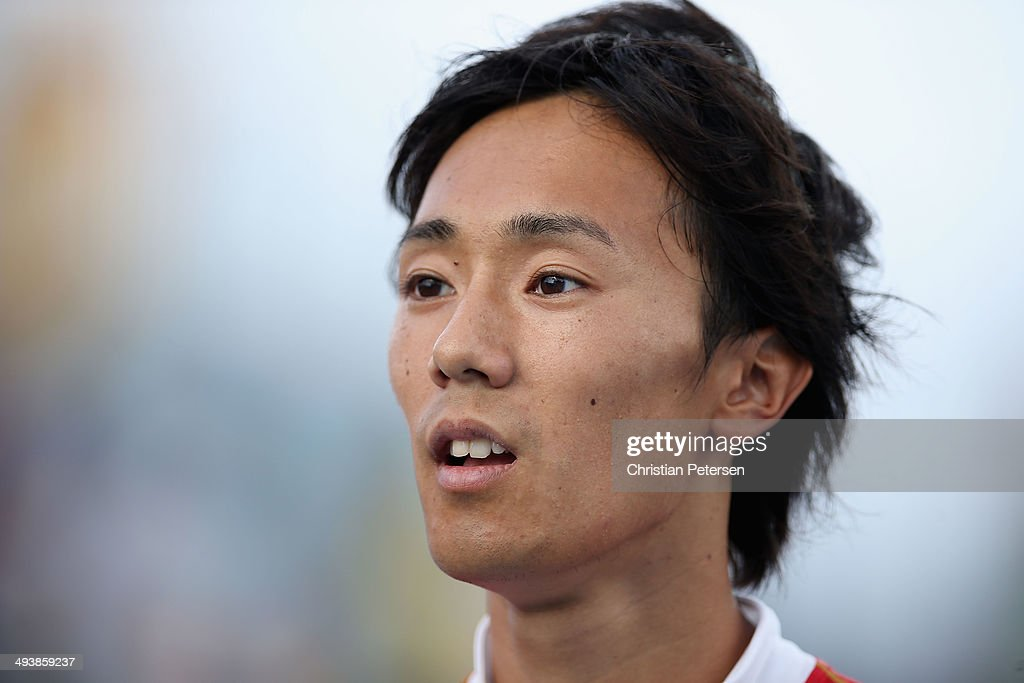 <a gi-track='captionPersonalityLinkClicked' href=/galleries/search?phrase=Kei+Takase&family=editorial&specificpeople=7933891 ng-click='$event.stopPropagation()'>Kei Takase</a> of Japan reacts after competing in the Men's 4x100 metres relay during day two of the IAAF World Relays at the Thomas Robinson Stadium on May 25, 2014 in Nassau, Bahamas.