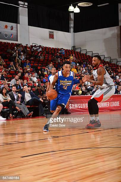 Keifer Sykes of the Golden State Warriors drives to the basket against the Toronto Raptors during the 2016 NBA Las Vegas Summer League game on July...
