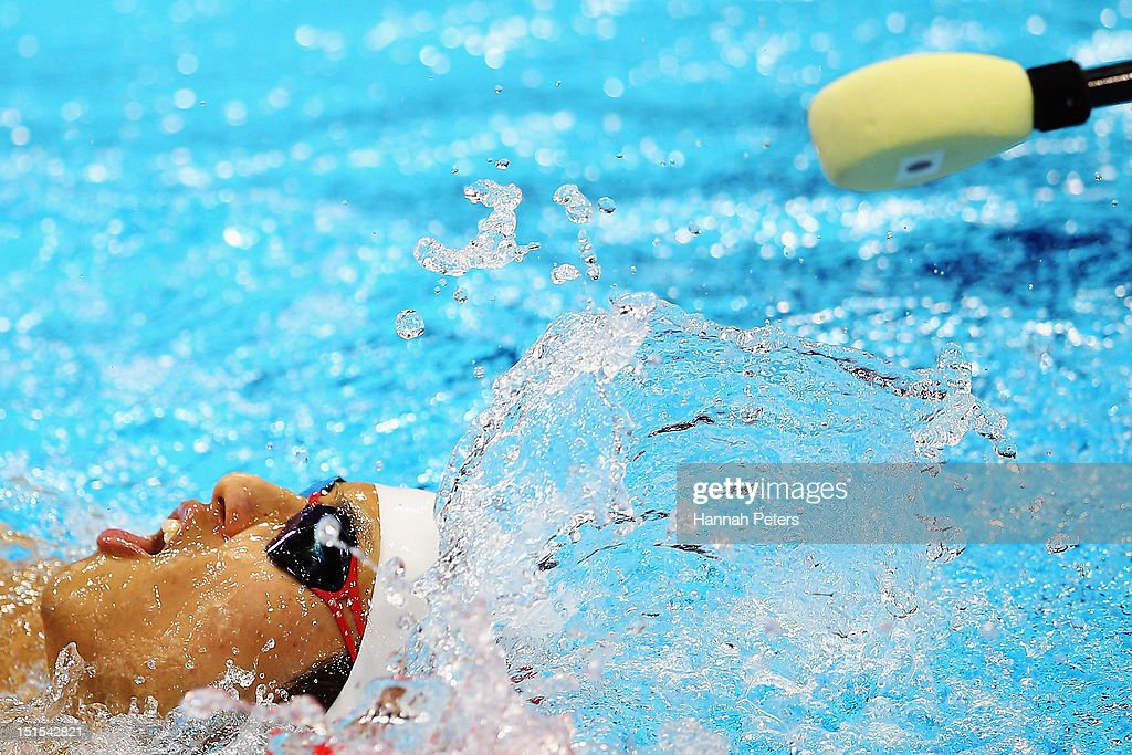 Keiichi Kimura of Japan competes in the Men's 200m Individual Medley SM11 final on day 10 of the London 2012 Paralympic Games at Aquatics Centre on...