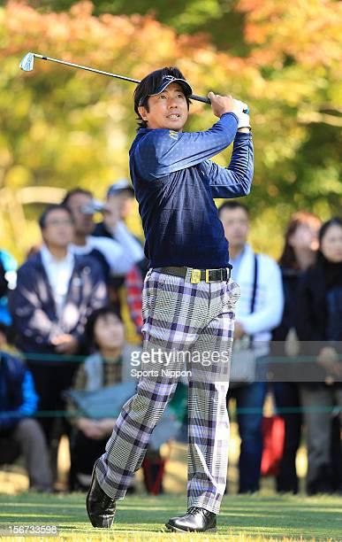Keiichiro Fukabori hits a shot during the third round of the Mitsui Sumitomo Visa Taiheiyo Masters at Taiheiyo Club on November 10 2012 in Gotemba...