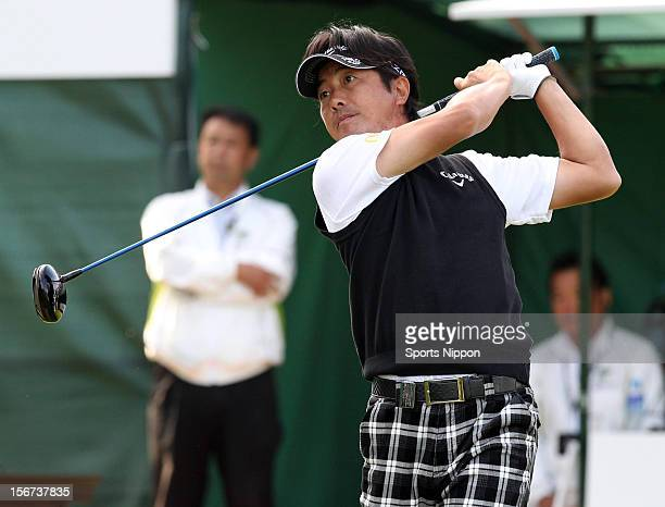 Keiichiro FUkabori hits a shot during the third round of the Bridgestone Open 2012 at Sodegaura Country Club on October 20 2012 in Chiba Chiba Japan