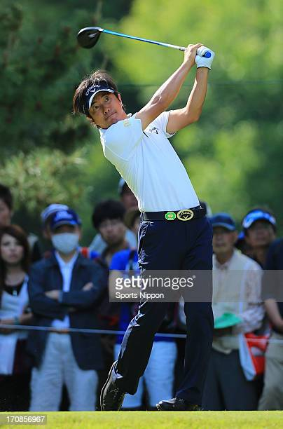 Keiichiro Fukabori hits a tee shot during the third round of the 81st PGA Championship Nissin CupNoodle Cup at Sobu Country Club on May 18 2013 in...