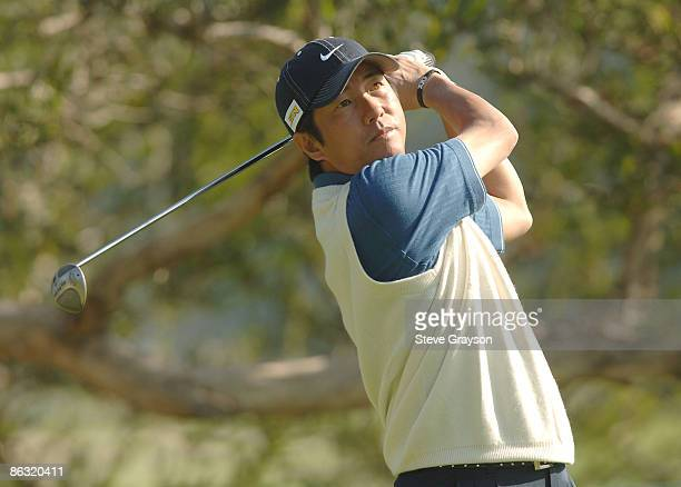 Keiichiro Fukabori hits from the fourth tee during the practice round of the 2006 Nissan Open at Riviera Country Club in Pacific Palisades California...