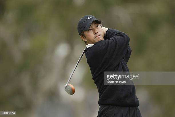 Keiichiro Fukabori of Japan hits a shot during the third round of the Buick Invitational at Torrey Pines Golf Course on February 14 2004 in La Jolla...