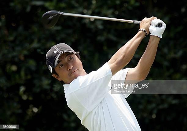 Keiichiro Fukabori of Japan hits his tee shot on the first hole during round three of the US Open on Pinehurst No 2 at the Pinehurst Resort on June...