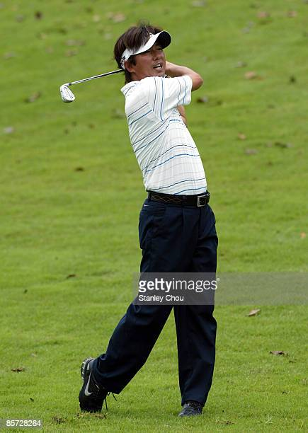Keiichiro Fukabori of Japan plays his 3rd shot on the 17th hole during Day One of The Open International Final Qualifying for Asia held on March 31...