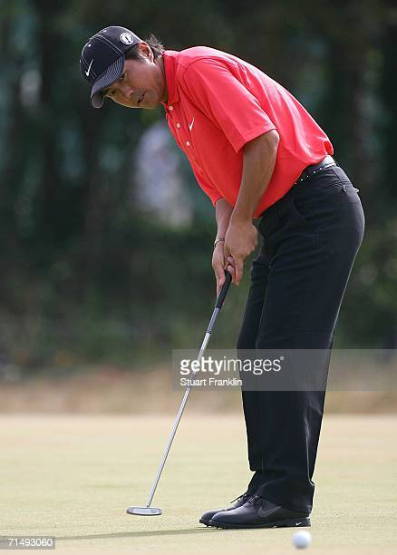 Keiichiro Fukabori of Japan putts on the 4th green during the second round of The Open Championship at Royal Liverpool Golf Club on July 21 2006 in...