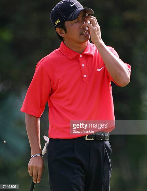 Keiichiro Fukabori of Japan reacts to his putt on the 4th green during the second round of The Open Championship at Royal Liverpool Golf Club on July...