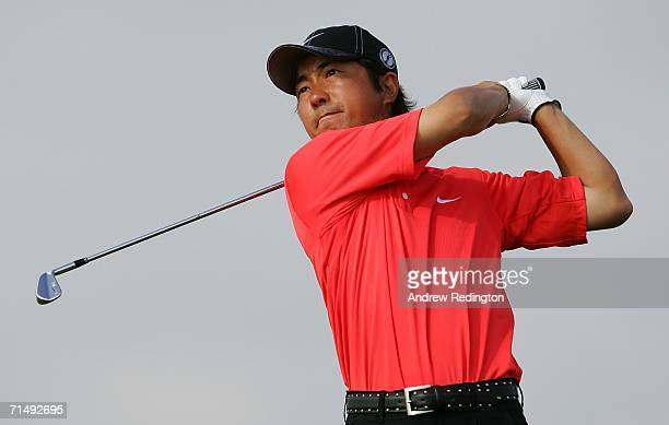 Keiichiro Fukabori of Japan tees off on the 2nd hole during the second round of The Open Championship at Royal Liverpool Golf Club on July 21 2006 in...