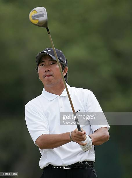Keiichiro Fukabori of Japan tees off on the 5th hole during the third round of The Open Championship at Royal Liverpool Golf Club on July 22 2006 in...