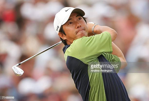 Keiichiro Fukabori of Japan tees off on the 9th hole during the first round of The Open Championship at Royal Liverpool Golf Club on July 20 2006 in...