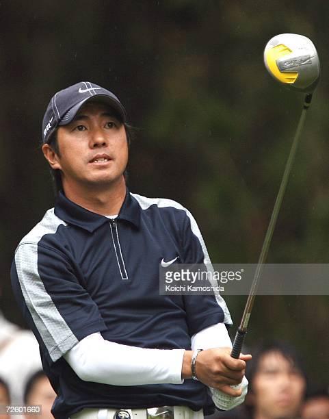 Keiichiro Fukabori of Japan watches his shot during the Dunlop Phoenix Tournament at the Phoenix Golf Club on November 19 2006 in Miyazaki Japan