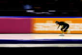 Keiichiro Nagashima of Japan competes in the Division A 500m race on the final day of the Essent ISU World Cup Speed Skating at Thialf Ice Stadium on...