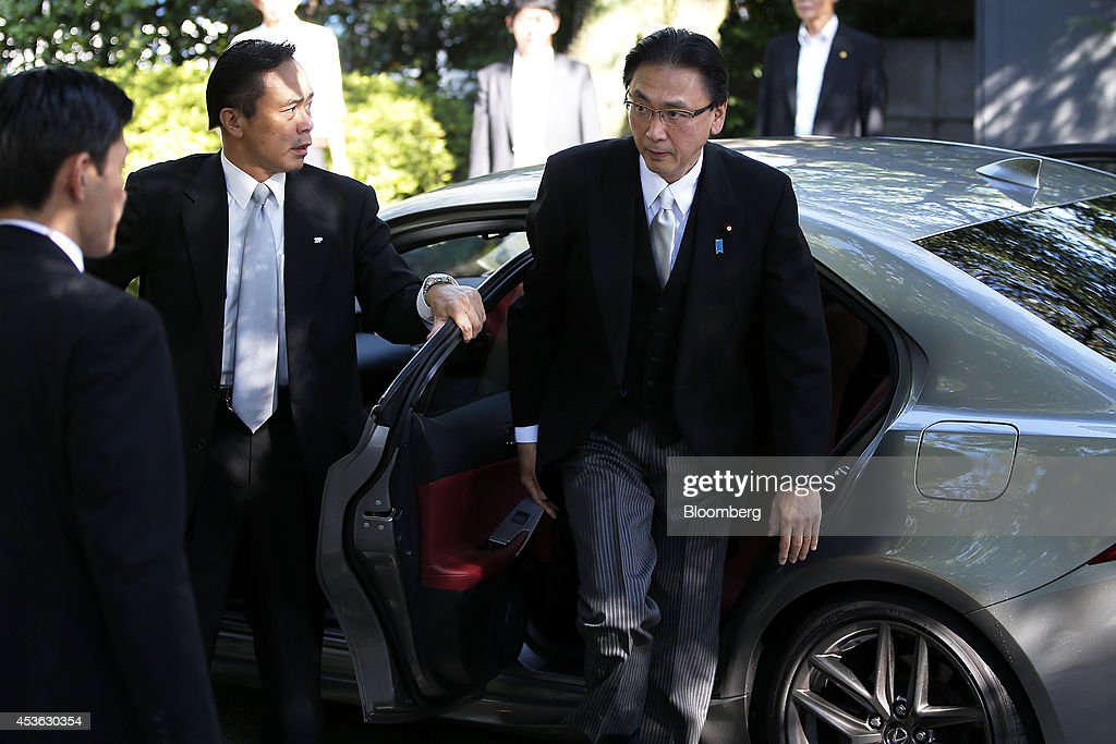 <a gi-track='captionPersonalityLinkClicked' href=/galleries/search?phrase=Keiji+Furuya&family=editorial&specificpeople=10094135 ng-click='$event.stopPropagation()'>Keiji Furuya</a>, Japan's chairman of the National Public Safety Commission, right, arrives at the Yasukuni Shrine in Tokyo, Japan, on Friday, Aug. 15, 2014. Japanese Prime Minister Shinzo Abe stayed away from the Tokyo war shrine on the 69th anniversary of Japans World War II defeat today, instead sending a donation as he seeks a summit with Chinese President Xi Jinping. Photographer: Kiyoshi Ota/Bloomberg via Getty Images